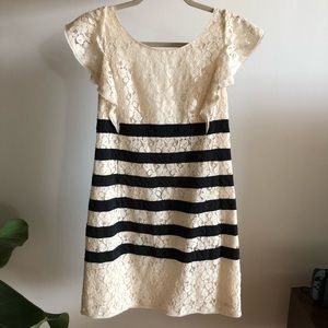 BCBG max Azria Lace and striped mini dress